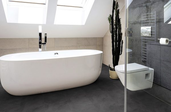 Black Slate vinyl flooring - bathroom