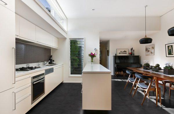 Black Slate vinyl flooring - kitchen