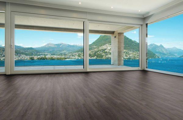 Smoked Charcoal vinyl click flooring open room view