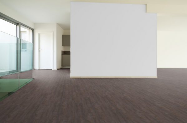 Vintage Grey Oak Vinyl Click flooring - empty room